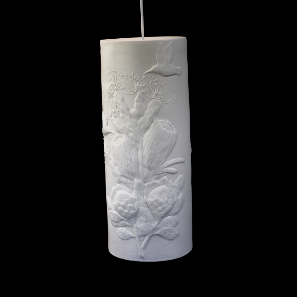 Sunbird and protea hanging lamp